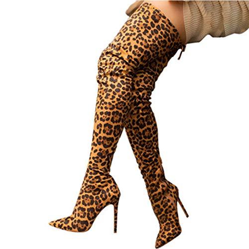 YHZQ Damen Overknee Langschaft Stiefel, Leopard Oberschenkel Hohe Stiefel, Winter Reitstiefel, Spitze Stiletto Mode Stretch-Stiefel, Große Größe (34-43EU) yellow-EU42