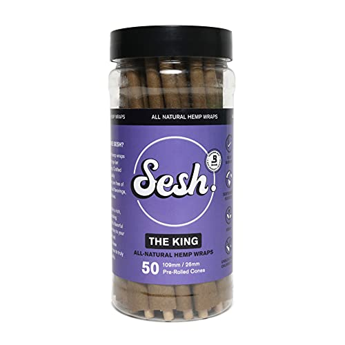 Sesh Pre-Rolled Cones - Jar of 50 Cones - The King - Hemp Wrap