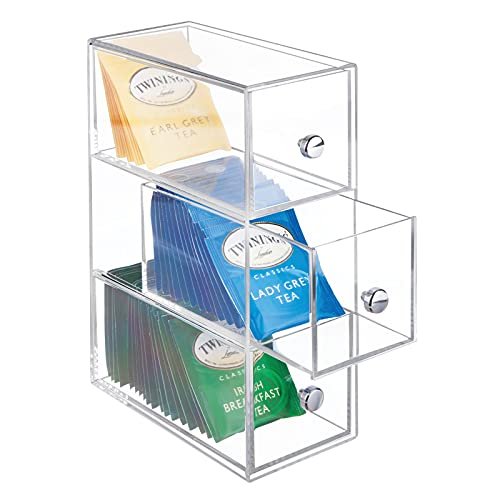 mDesign Plastic Kitchen Pantry Stackable Container, Cabinet, Countertop Organizer Storage Station with 3 Drawers for Coffee, Tea Bag, Sugar Packets, Creamers, Drink Pods, Packets - Clear