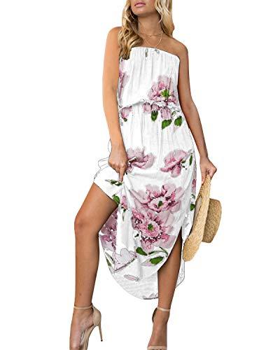 Yoins Maxikleid für Damen, Blumenmuster, V-Ausschnitt, halblange Ärmel, gekreuzte Vorderseite, für Urlaub, Strand Gr. 38-40, Trägerloses Kleid, weiß