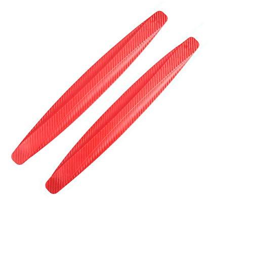 Paquete de 2, WeFoonLo Universal Rubber Anticollision Car Corner Bumper Guard protector anti-Scratch tiras pegatina (Rojo)