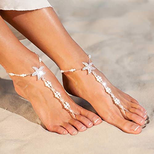 Yikisdy Boho Pearl Barefoot Sandals Anklets White Beach Beaded Ankle Bracelets Starfish Foot Chain Jewelry for Women and Girls(Pack of 2)