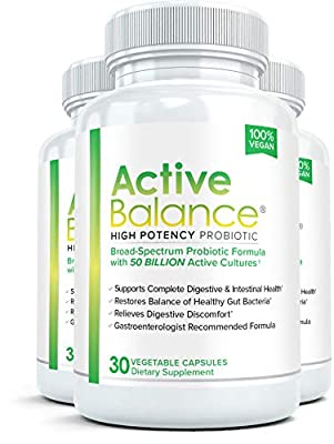 Active Balance (3 Bottles) Advanced High Potency Probiotic Supplement - 50 billion CFU's - 30 Capsules per Bottle from Vivid Health Nutrition