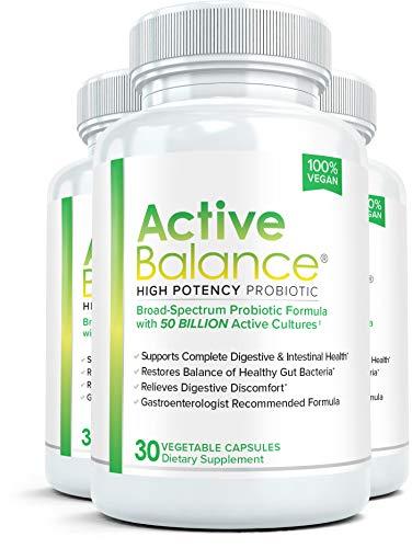 Active Balance (3 Bottles) Advanced High Potency Probiotic Supplement - 50 Billion CFU's - 30 Capsules per Bottle