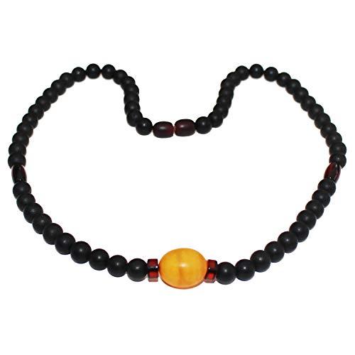 Collana con perle di ambra grezza e ciliegia nera non lucidata. Look elegante e fresco! + bella confezione regalo. Gioiello con ambra