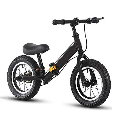 YumEIGE Loopfiets voor kinderen, koolstofstalen frame, opvouwbaar, balansfiets met rem, instelbare stuurstoel, voor 3-8 jaar oud, hoogte 35,4 tot 49,2 inch, belasting 50 kg zwart