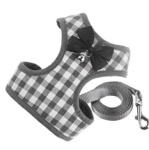 Oxatscr Dog Harness Leash Set No Pull Pet Cat Adjustable Lead Strap Vest Set with Bell Grey L