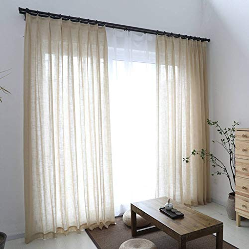 TTJJ Linen Sheer Voile Curtain, Transparent Drapes Blackout Thermal Insulated Soft Decorative with Grommets Panels Suitable for Bedroom Living Room Window-300x270cm(118x106inch) -A