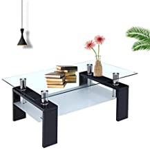 RICA-J Glass Coffee Table, Rectangle Modern Side Coffee Table Glass Top with Lower Shelf Wooden Legs Living Room Furniture US Stock (Black)