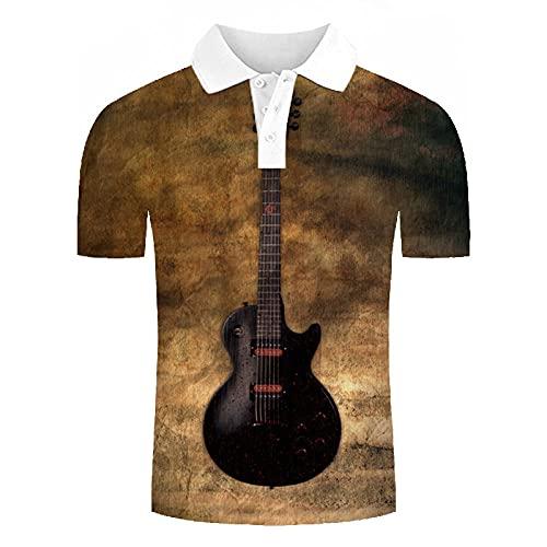 Polos Manga Corta Hombre - Guitarra Eléctrica Impresa En 3D Polo De...