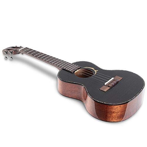 Miiliedy Moda fresca Chapa de fibra de carbono Ukulele Principiantes de 23 pulgadas Hombres, mujeres y adultos Practicar tocando una pequeña guitarra con una bolsa de tela de pulir Cuerdas de repuesto