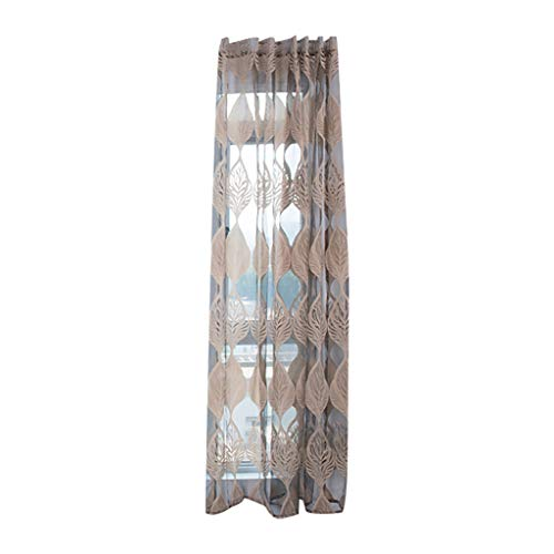 Pangxiannv Leaves Curtain Tulle Window Treatment Voile Drape Valance 1 Panel Fabric Valance Sheer Curtains Window Curtains Wooden Blind Home Depot Room Darkening Curtains