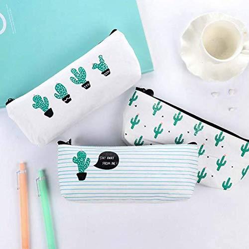 Gwill Cactus Pastoral Vendaje Estuche de lona Caja de lápices Monedero Maquillaje Bolsa Set de 5 (Cactus)