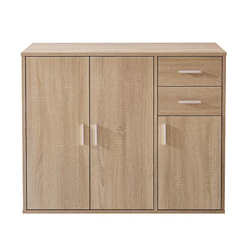 100CM Sideboard Storage Cabinet Cupboard Display Shelf With Drawers And Doors (OAK)