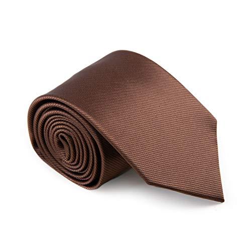 GENTSY ® Herren Handgefertigte Krawatte Standardbreite 8cm oder Schmale 6cm - Einfarbig Farben (K57 Braun)