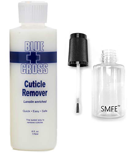 6 Ounce Blue Cross Cuticle Remover and SMFE Empty Applicator Bottle