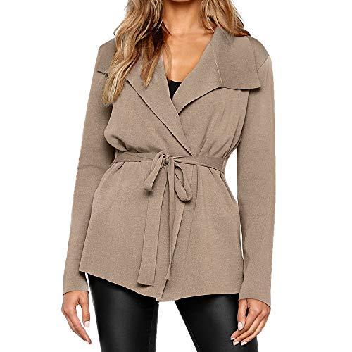 WHSHINE Damen Mode Strickjacke Outwear Elegante Frauen Casual Outwear Herbst Winter Mantel mit Wasserfallkragen Revers Jacke Outwear Langarmshirt Einfarbig Tops (Khaki,L)