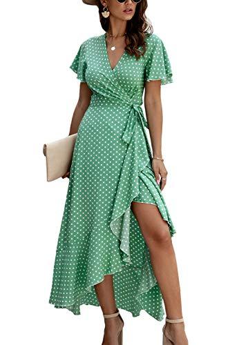 Vestido Casual de Verano para Mujer Vestidos de Playa Largos con Lunares Vintage Verde S