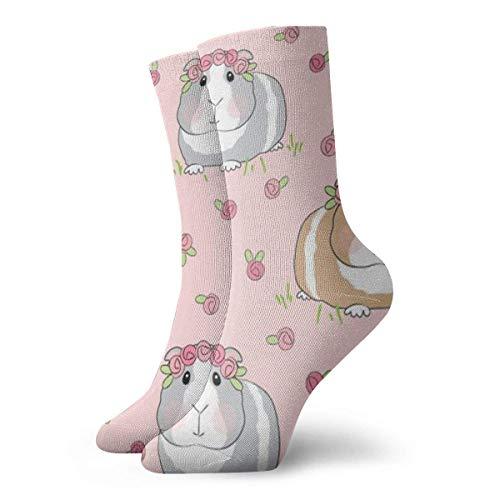 Unisex Meerschweinchen und Rosen atmungsaktiv Fantasy Knöchel Laufen Wandern Socken Wochenende Sport Athletic Socken Kurze Crew Socken 30 cm