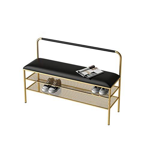 FOLA Zapatero de hierro nórdico de lujo, con estante de almacenamiento de zapatos, para puerta lateral, para el hogar, para zapatos, para salón, sofá, zapatero (color: negro y dorado)
