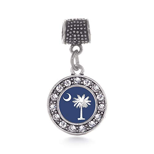 Inspired Silver - South Carolina Flag Memory Charm for Women - Silver Circle Charm for Bracelet with Cubic Zirconia Jewelry