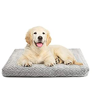 Dog Bed Crate Pad 29″ x 21″ with Removable & Machine-washable Cover, Super Plush Dog Crate Mat with Anti-Slip Bottom, Medium Large Pet Kennel Bed Pad, Thick Soft Cotton Core for Sleeping, Textured
