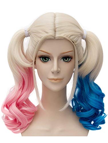 Falamka T3003 Andp film Suicide Squad Harley Quinn Cosplay Perruque pour fille femme couettes Rose Bleu Cheveux longs bouclés Cosplay Perruques (1)