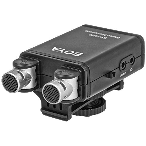 Boya BY-SM80 Stereo-Mikrofon mit Hochpassfilter   Hochwertiges Stereo-/Richtmikrofon, verstellbar um 90° bis 120°   Geeignet für DSLR, Videokamera, Audio Recorder