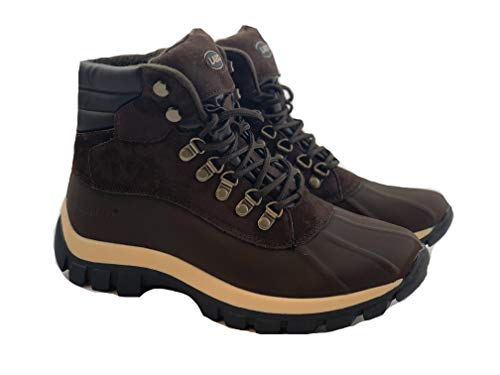 KINGSHOW Men's Leather Winter Snow Boots Shoes Waterproof Insulated Lace UP (D,M) 0705 Brown-8
