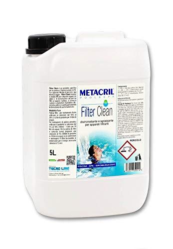 Metacril Filter Clean 5 LT - Disincrostante,Sanificante,Sgrassante per filtri di Piscina e idromassaggio (Teuco, Jacuzzi,Dimhora,Intex,Bestway,ECC.) Spedizione IMMEDIATA