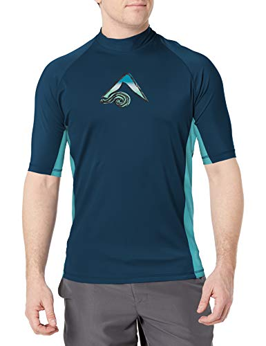 Kanu Surf Men's UPF 50+ Short Sleeve Sun Protective Rashguard Swim Shirt, Mercury Navy, Medium