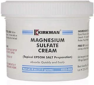 Kirkman Magnesium Sulfate Cream | 4oz Cream | Gluten Free | Casein Free