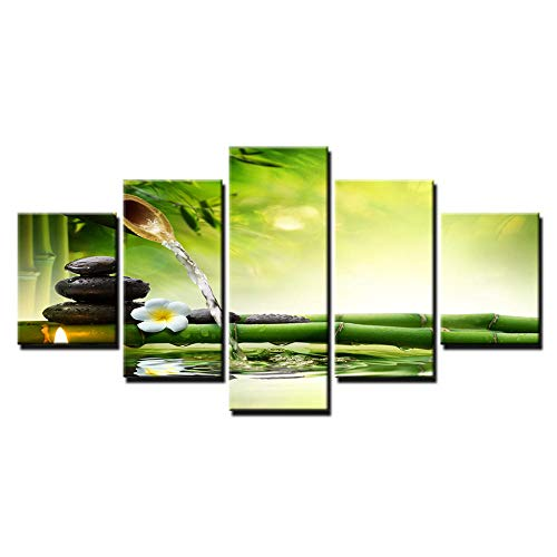 PULUKESns Leinwand HD druckt Poster Home Decor Wandkunst NO Framework 5 Stück Spring Stone Bambus fließendes Wasser Gemälde Kerze Blumenbilder
