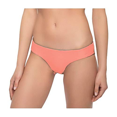 Tori Praver Women's Cheeky Hipster Bikini Swim Bottom (Large, Living Coral)