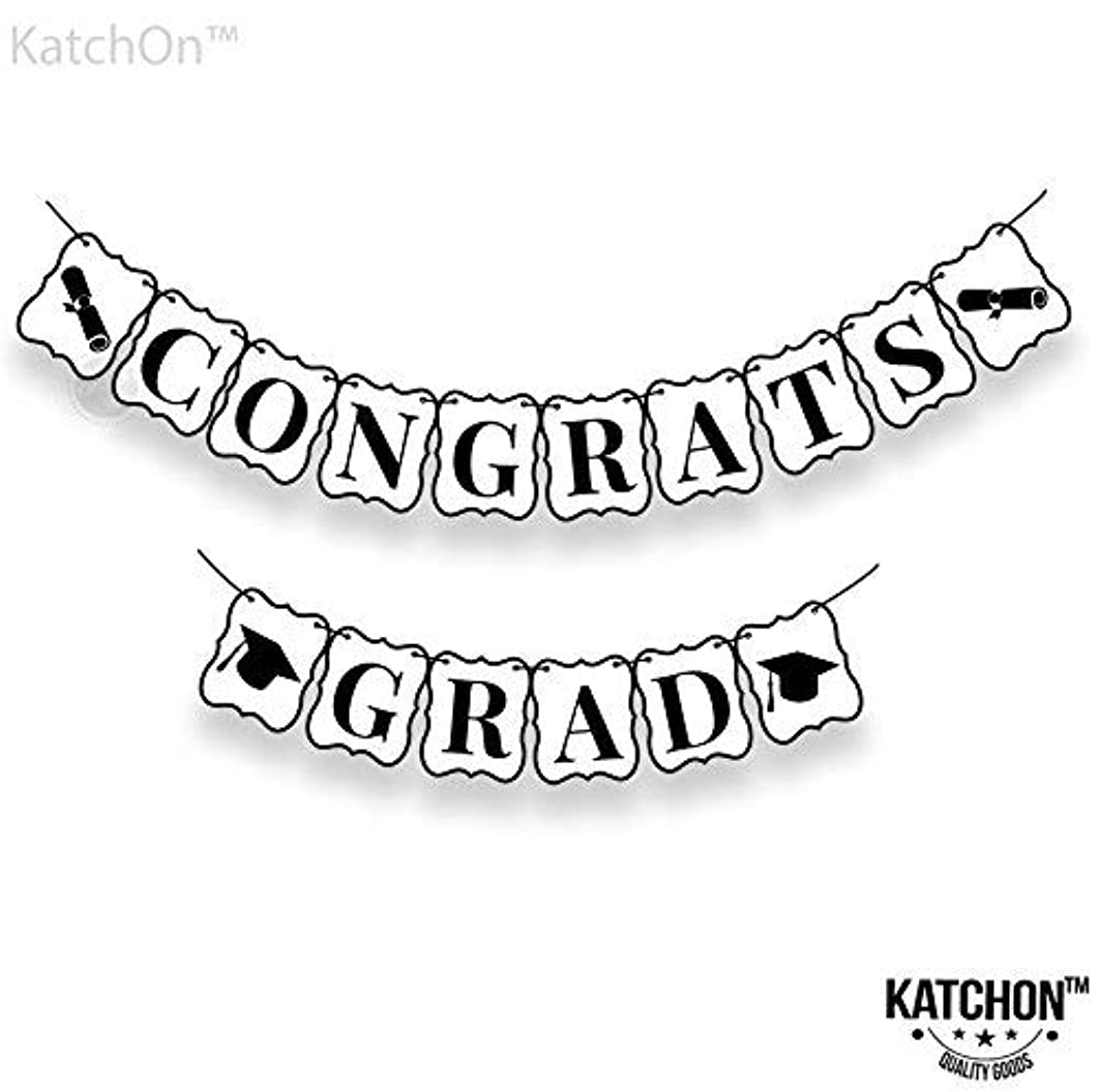 Congrats Grad Banner, Graduation Decorations - Black and White   No-DIY Required   Graduation Banner for Graduations Party Supplies 2019, Grad Party Decor   Large   8 x 6 Inches