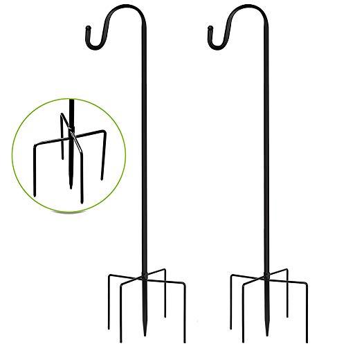 Ydecor 2 Pack Shepherd Hooks Outdoor 48 Inch, 1/2 Inch Thick Heavy Duty Rust Resistant Plant Hangers Outdoor, Bird Feeder Hanger