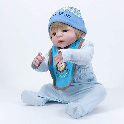 Simulación Rebirth Baby Doll Caucho De Silicona Suave 55Cm Muñeca De Ojos Azules, 55Cm