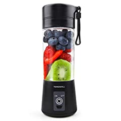 Smart Safety Protection System: Magnetic sensing switch ultra safe to use and clean, the juicer cup will stop working when body and bottom separated. 380ML capacity Mini blender, it's good for travel blender Upgrade 6 Blades Mixing: 6 Blades portable...