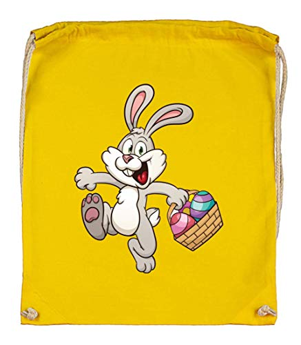 Druckerlebnis24 Turnbeutel - Kaninchen Cartoon Eierkocher Bunt - Stoffbeutel aus Bio Baumwolle