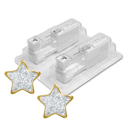 1 Paar STUDEX Medizinische Ohrstecker vergoldet Stern Glitter weiß 4mm
