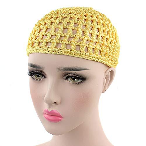 Xuniu Turbante, Malla de Malla de Pelo Gorra de Crochet de Color sólido Snood Noche de Dormir para Mujeres