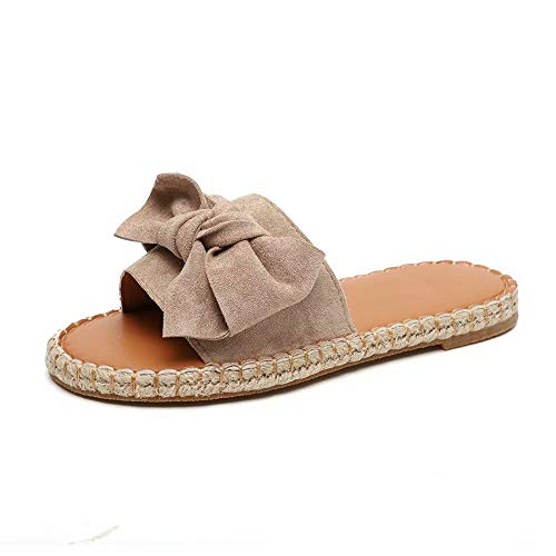 Schlappen Damen Espadrille Sandalen Flache Sommer Schleife Wildleder Sandaletten Peep Toe Plateau Strand Hausschuhe Pantoletten Bequeme Beige 39