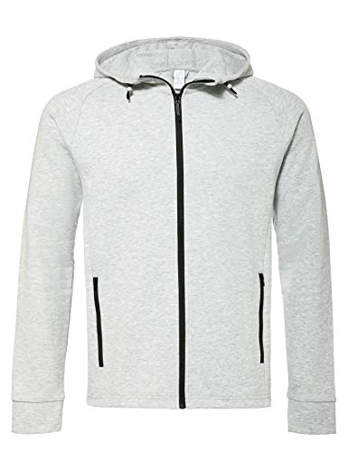 CARE OF by PUMA Herren-Tech-Kapuzenjacke mit Fleece-Futter, wasserabweisend, Grau (Light Grey Heather), L, Label: L
