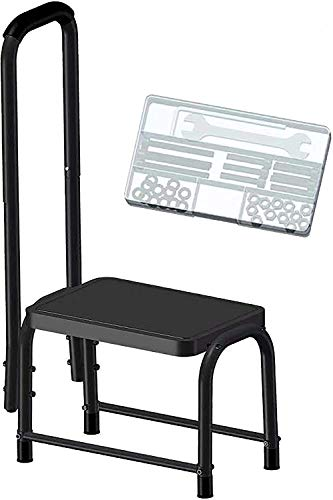 Leekpai Sturdy Step Stool with Handle for Seniors,Adults. Heavy Duty Holds 300lbs.Non-Slip Safety Step, Attractive Black for Bathroom