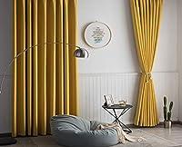 黄色 一級遮光カーテン 昼夜目隠し 透けない 用 寝室 リビングルーム,モダン リネンテクスチャ カーテンセット 1枚,断熱 防炎 遮熱 厚く 防音 ドレープカーテン-マスタードイエロー 250x270cm(98x106inch)