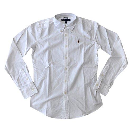 Ralph Lauren Damen Polo Wo Classic Fit Oxford Button-Down Hemd Große Weiß