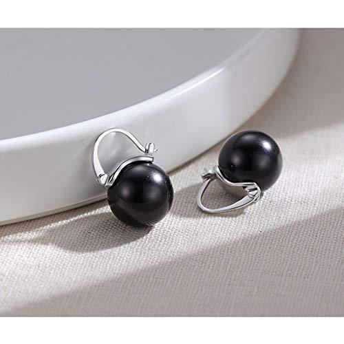 Pendientes Creativity Shell perlas negras 925 pendientes de perlas temperamento Selección imitación Negro Diámetro de 14 mm de la joyería de las mujeres de la vendimia-plata de ley regalo Pendientes M
