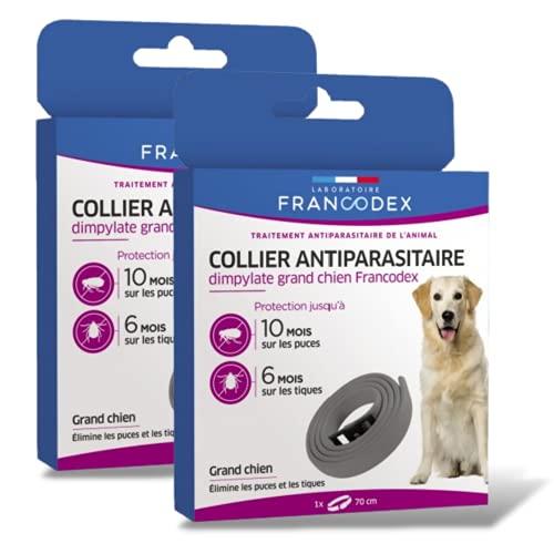 Francodex - 2 collares para perro antipulgas y antigarrapatas, 1 año de protección, 2 tamaños a elegir/para todos los perros, calidad francesa (70 cm)