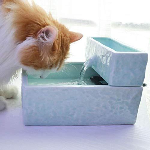 Fontanella per Gatti Cani,Fontanella per Gatti e Cani 1.9L Fontane per Gatti Fontanella in Ceramica per Gatti con Filtro Silenzioso Pompa Elettrica fontanella per Gatti