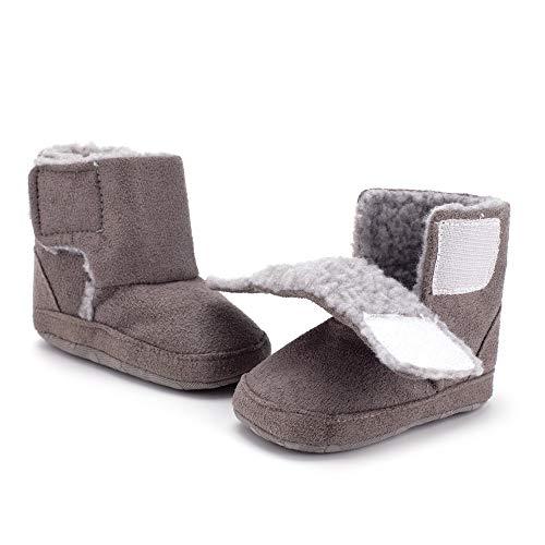 Csfry Baby Boys Plush Winter Warm Snow Boots Grey